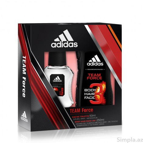 Adidas Kişi ətri Team Force (EDT)  50 ml + Adidas Team Force Duş geli 250 ml (Kişi)
