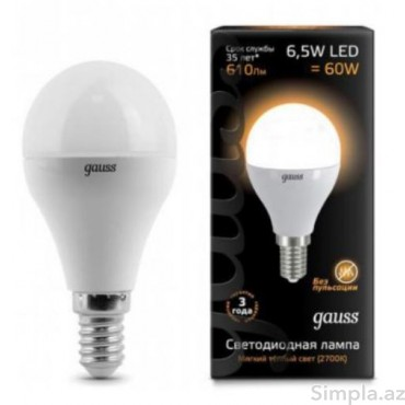 Gauss LED Lampa Sarı 6,5W E14