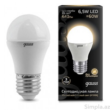 Gauss LED Lampa Sarı 6,5W E27