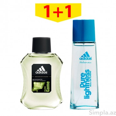 Adidas Qadın Ətiri (EDT) Pure Lightness 50 ml+Adidas Kişi Ətiri (EDT) Pure Game 50 ml
